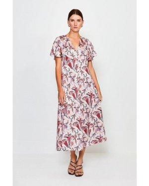 Karen Millen Print Button Through Midi Dress -, Navy