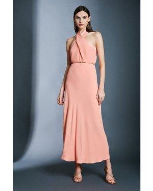 Karen Millen Contrast Collar Halter Neck Dress -, Orange