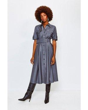 Karen Millen Polished Stretch Wool Blend Utility Dress -, Pale Grey