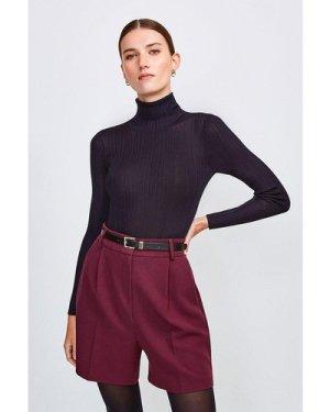 Karen Millen City Stretch Twill Belted Short -, Red