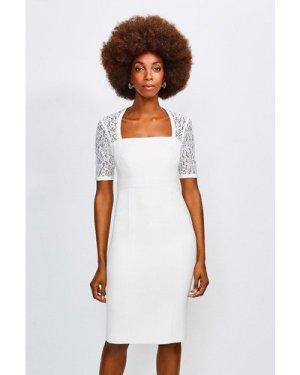 Karen Millen Square Neck Sleeved Lace Forever Dress -, Ivory