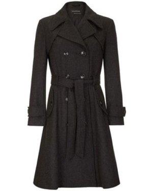 Anastasia  Women's Dark Grey Wool Winter Belted Trench Coat  women's Trench Coat in Grey