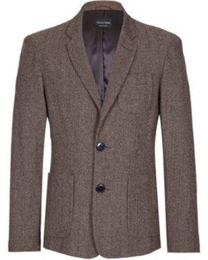 De La Creme  Tweed Wool Winter Blazer Jacket  men's Coat in Brown