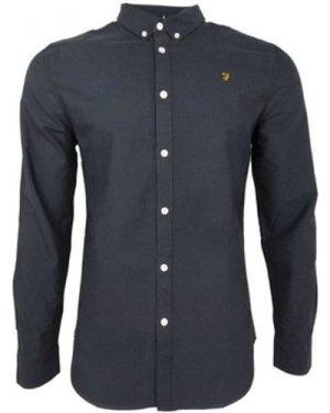 Farah  Brewer Slim LS BD  men's Long sleeved Shirt in Blue