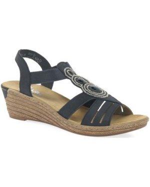 Rieker  Trio Womens Casual Slip On Wedge Sandals  women's Sandals in Blue
