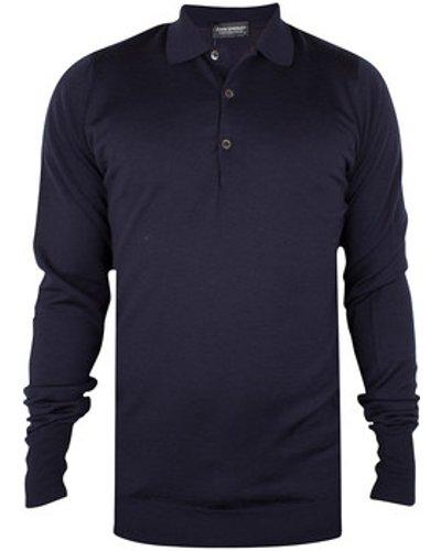 John Smedley  Longsleeved Knitted Polo Shirt  men's Polo shirt in Blue