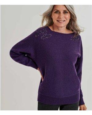 Woolovers  Embellished Shoulder Detail Jumper  women's Sweater in Purple