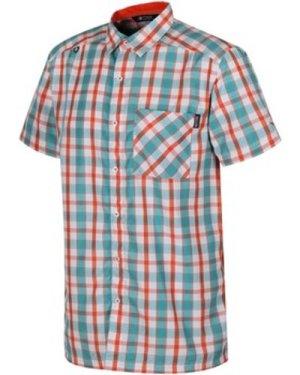 Regatta  Mindano III Checked Shirt Orange  men's Short sleeved Shirt in Orange
