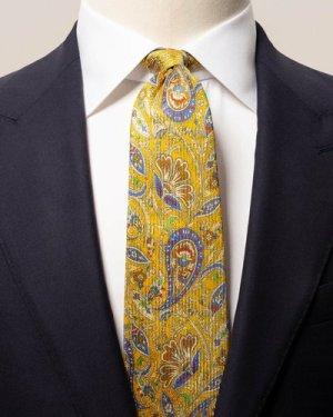 Yellow flower paisley tie