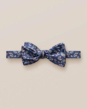 Navy mini paisley bow tie – self tied