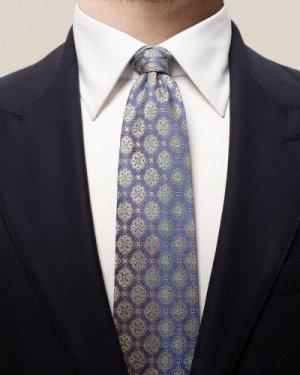 Blue medallion square tie