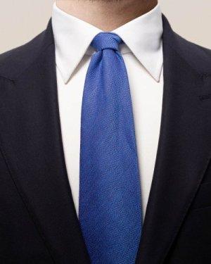 Blue cotton, linen & silk tie