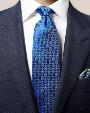 Dark Blue Floral Silk Tie