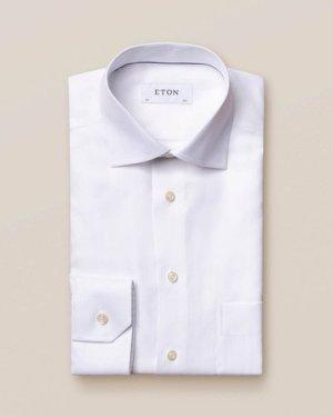 White Herringbone Twill Shirt