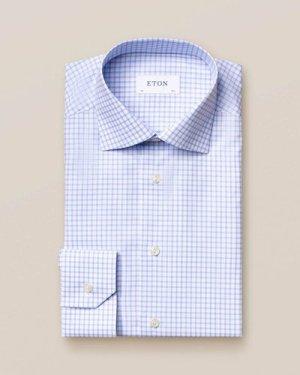 Light Blue Checked Stretch Twill Shirt