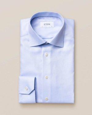 Light Blue Textured Twill Shirt