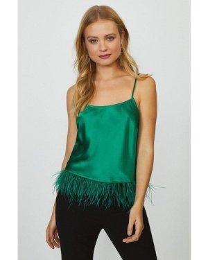 Coast Feather Hem Cami Top -, Green