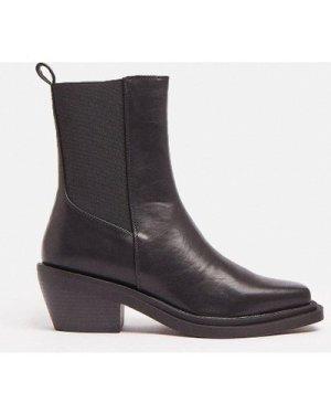 Coast Low Heel Pu Boot -, Black