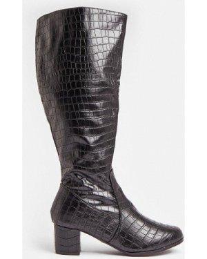 Coast Croc Knee High Block Heel Boots -, Black