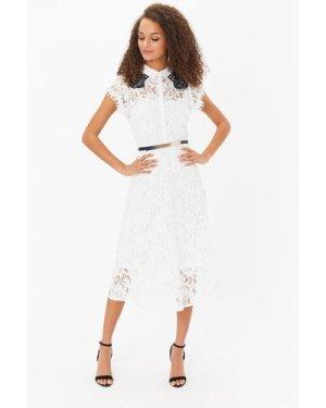 Coast Belted Lace Shirt Dress -, Blackwhite
