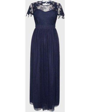 Coast Short Sleeve Lace Yoke Mesh Maxi Dress -, Navy