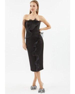 Coast Organza Frill Detail Bardot Midi Dress -, Black