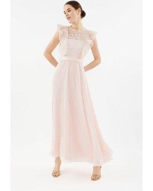 Coast Frilled Sleeve Lace Bodice Maxi Bridesmaid Dress -, Pink