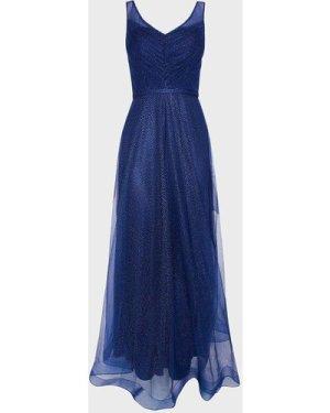 Coast Deep V Neck Glitter Maxi Dress -, Navy
