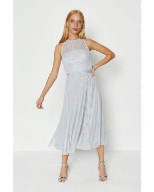 Coast Mesh Pleated Midi Dress -, Silver