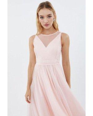 Coast Sleeveless Organza Tulle Midi Bridesmaid Dress -, Pink
