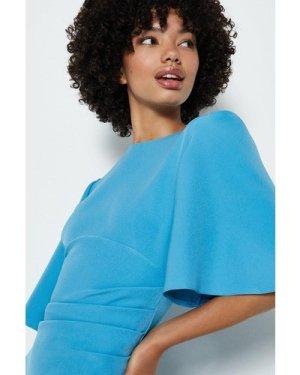 Coast Flare Sleeve Crepe Dress -, Blue