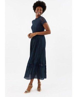Coast Lace Bodice Pleat Skirt Maxi Bridesmaid Dress -, Navy