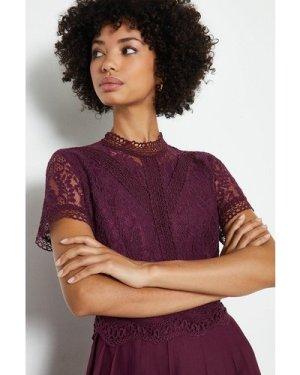 Coast Lace Bodice Pleat Skirt Maxi Dress -, Aubergine