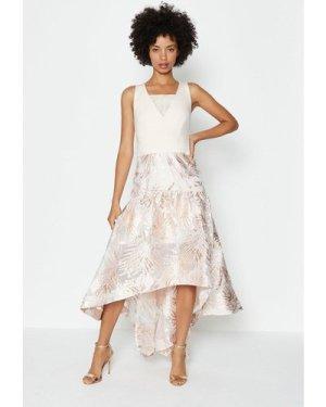 Coast Drop Waist Clipped Jacquard Midi Dress -, Pink