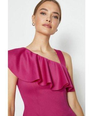 Coast One Shoulder Ruffle Scuba Midi Dress -, Pink