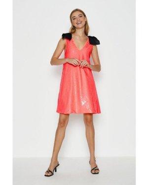 Coast Bow Shoulder Sequin Cami Dress -, Pink