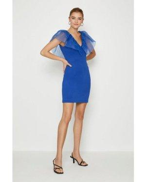 Coast Organza Shoulder Ruffle Dress -, Blue