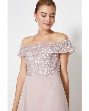 Coast Bardot Sequin Maxi Dress -, Pink