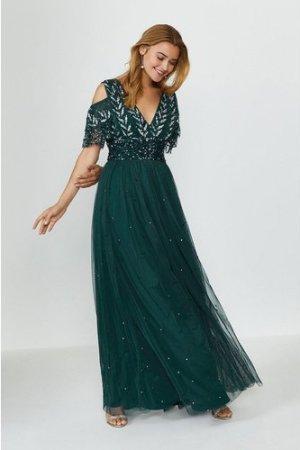 Coast Cold Shoulder Scattered Embellished Maxi Dress -, Green