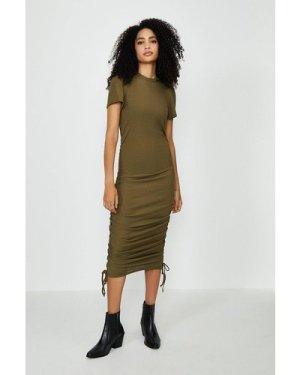 Coast Ribbed Jersey Ruche Side Dress - Green, Khaki