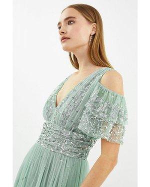 Coast Cold Shoulder Scattered Embellished Maxi Dress -, Sage