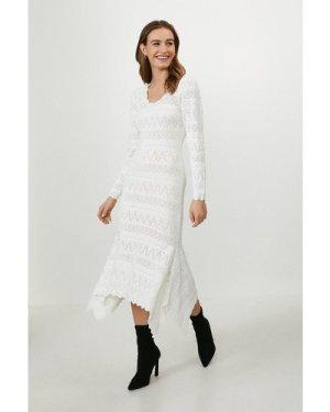 Coast Pointelle Statement Dress -, Cream