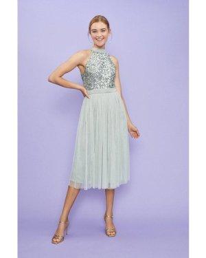 Coast Sequin Bodice Halter Midi Dress -, Sage