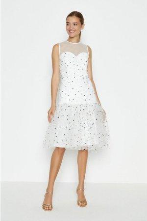 Coast Drop Waist Tiered Embroidered Dress -, Ivory