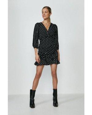 Coast Polka Dot Ruched Skirt Wrap Dress -, Black