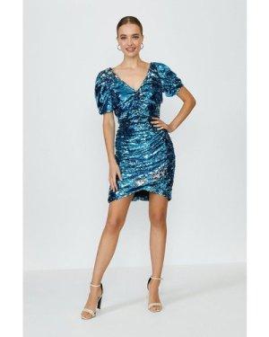 Coast Sequin Embellished Puff Sleeve Mini Dress -, Blue