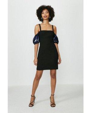 Coast Mini Sequin Sleeve Dress -, Black