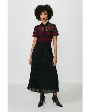 Coast Lace Pleat Midi Dress -, Red