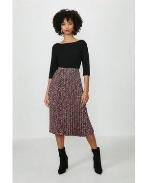 Coast Printed Pleated 3/4 Sleeve Midi Dress -, Floral