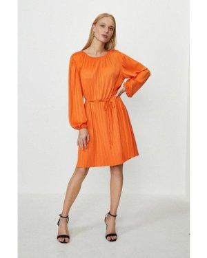Coast Slash Neck Plisse Dress -, Orange